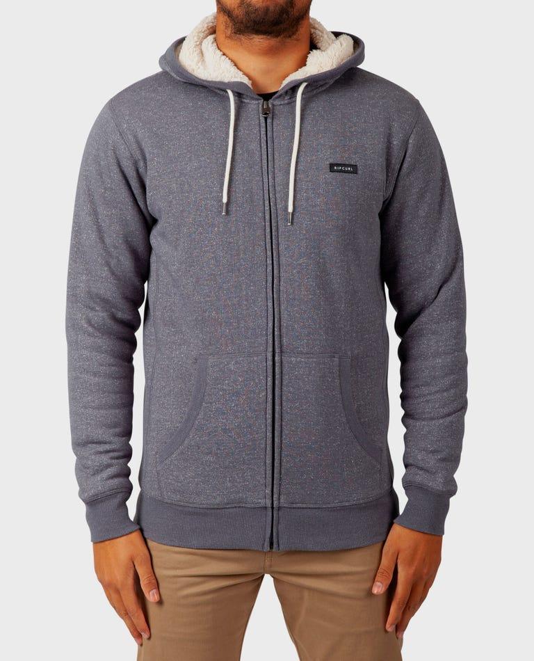 Core Zip Up Sherpa Hooded Fleece in Grey
