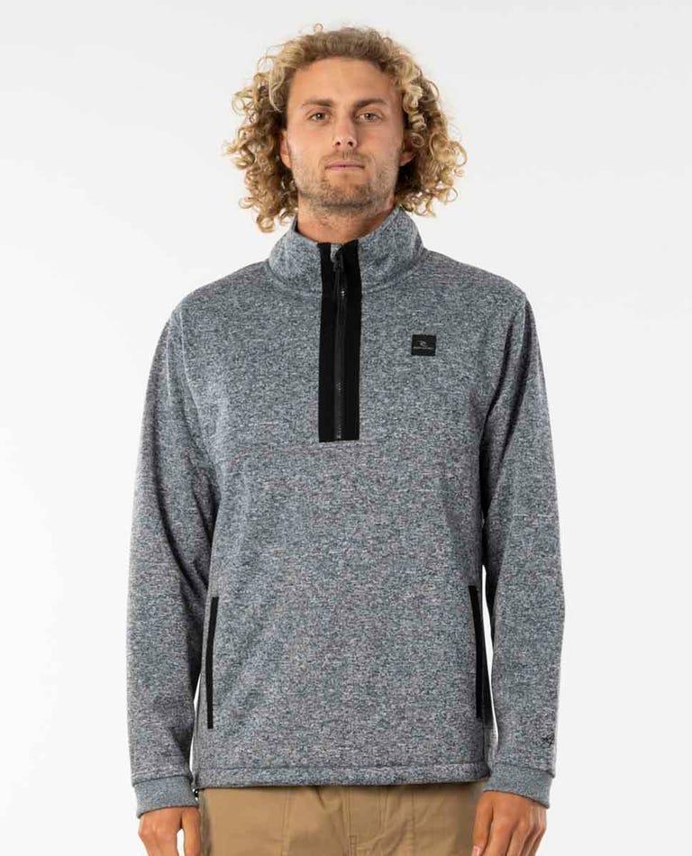 Crescent 1/4 Zip Anti-Series Fleece in Light Grey Marle