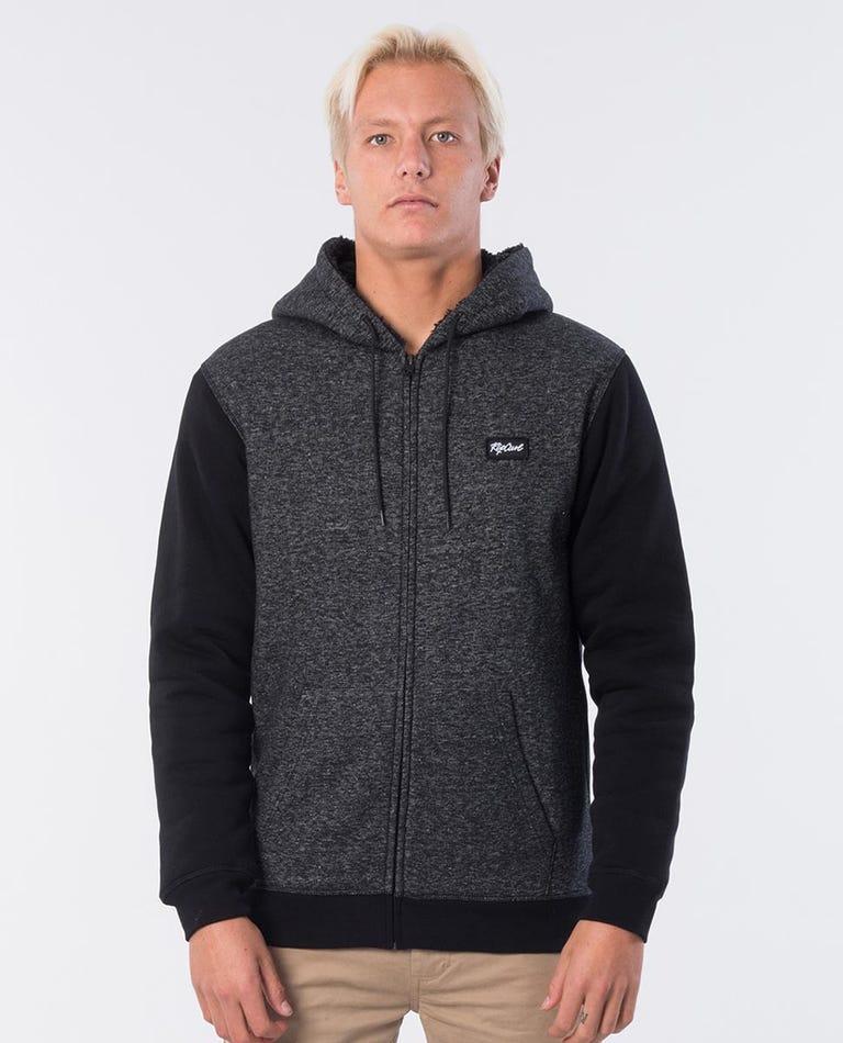 Core Lined Hooded Jumper in Dark Grey Marle