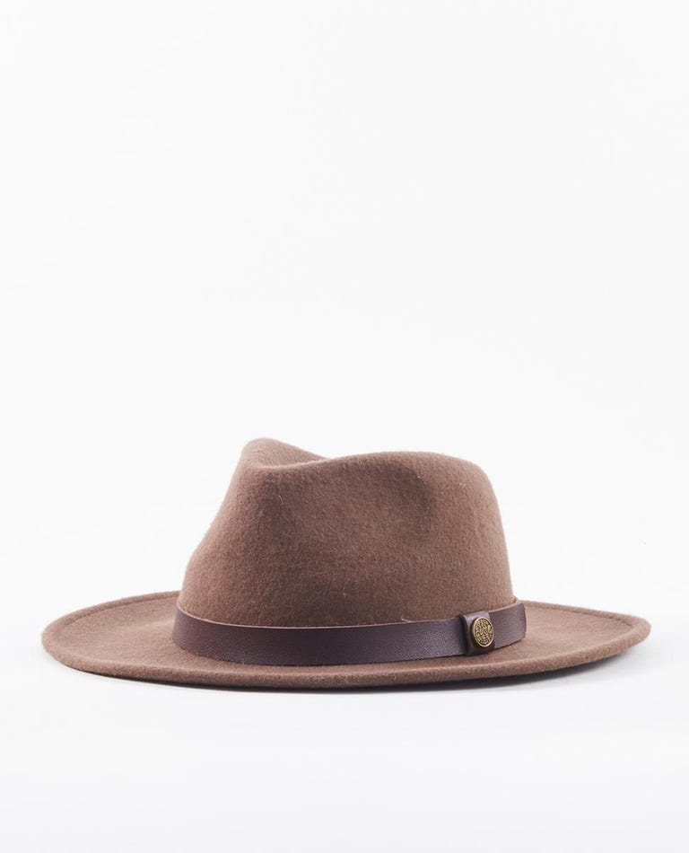 Wetty Fedora Hat in Brown