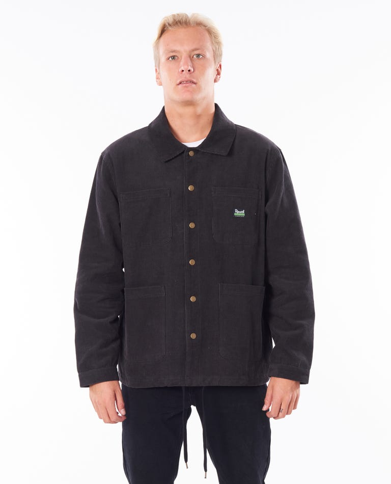 Saltwater Culture Cord Chore Jacket in Washed Black