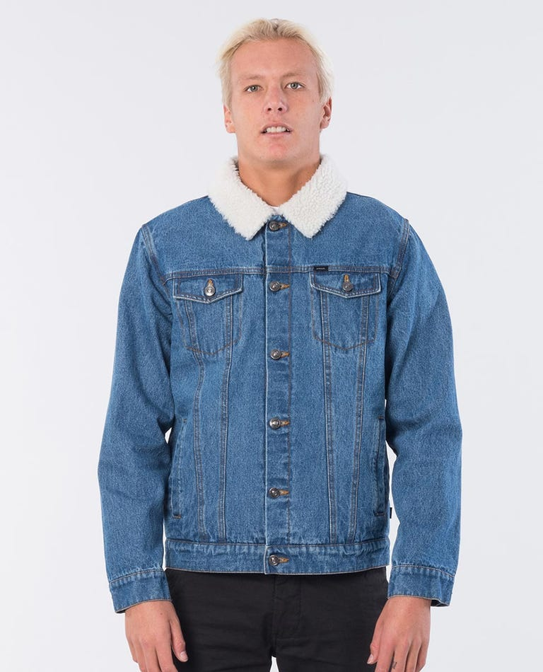 Angus Denim Jacket in Mid Blue