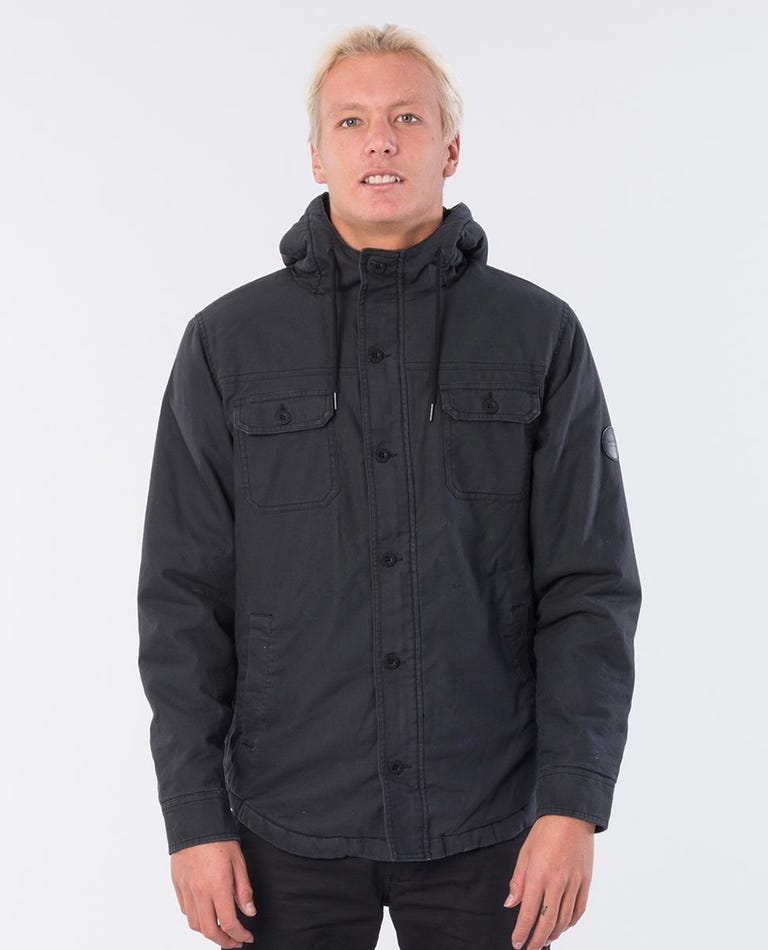 Gibbos Cotton Flannel Jacket in Washed Black