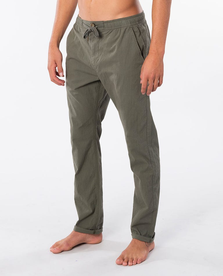 Ripple Straight Cotton Pant in Mid Green