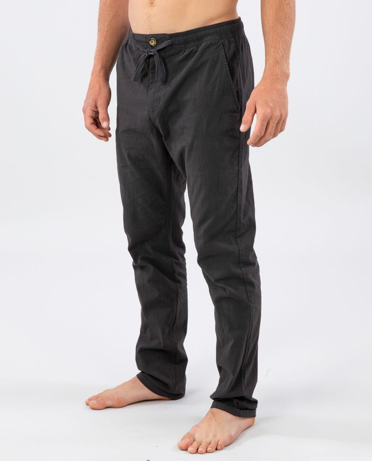 Ripple Straight Cotton Pant in Black