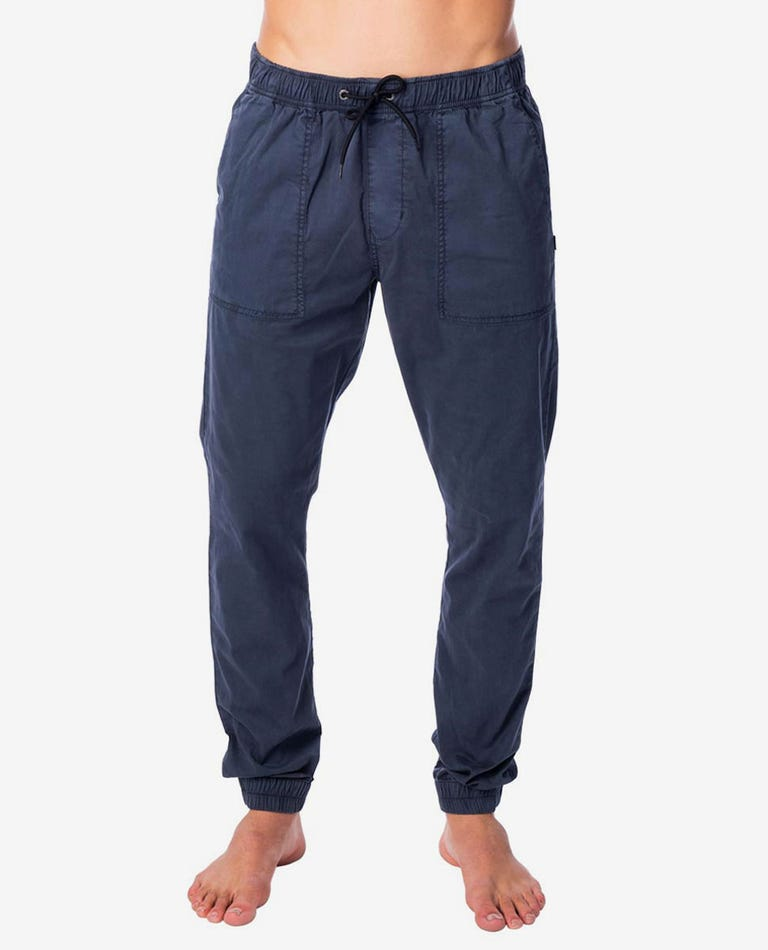 Beach Mission Elastic Pant in Navy