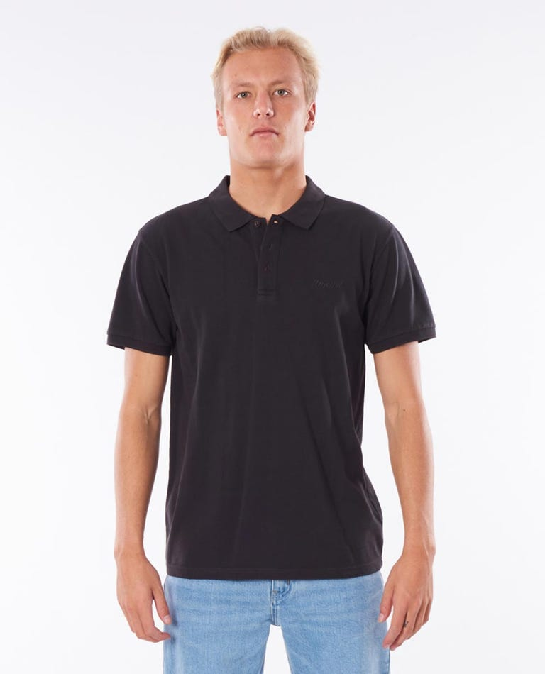 Faded Polo in Washed Black
