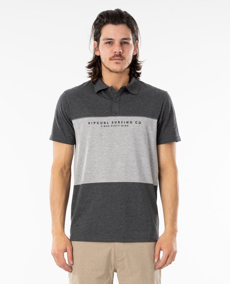 Sections VaporCool Polo Top in Dark Grey Marle