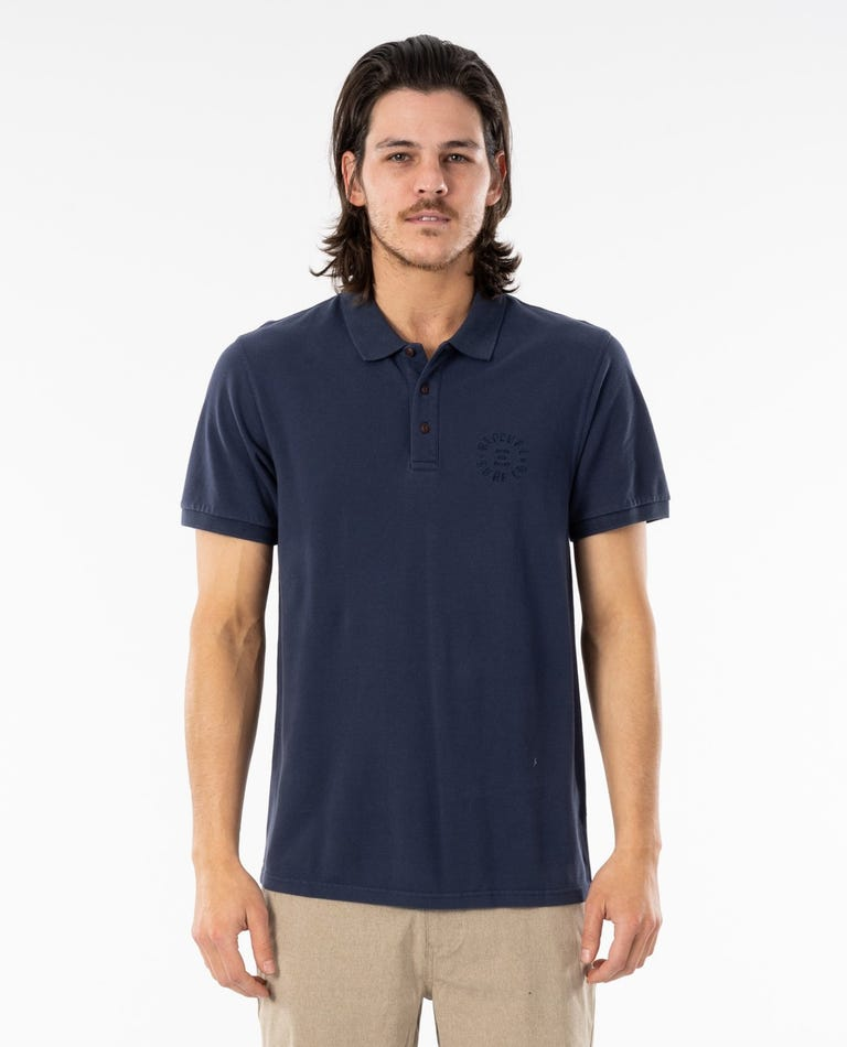 Faded Polo Top in Navy
