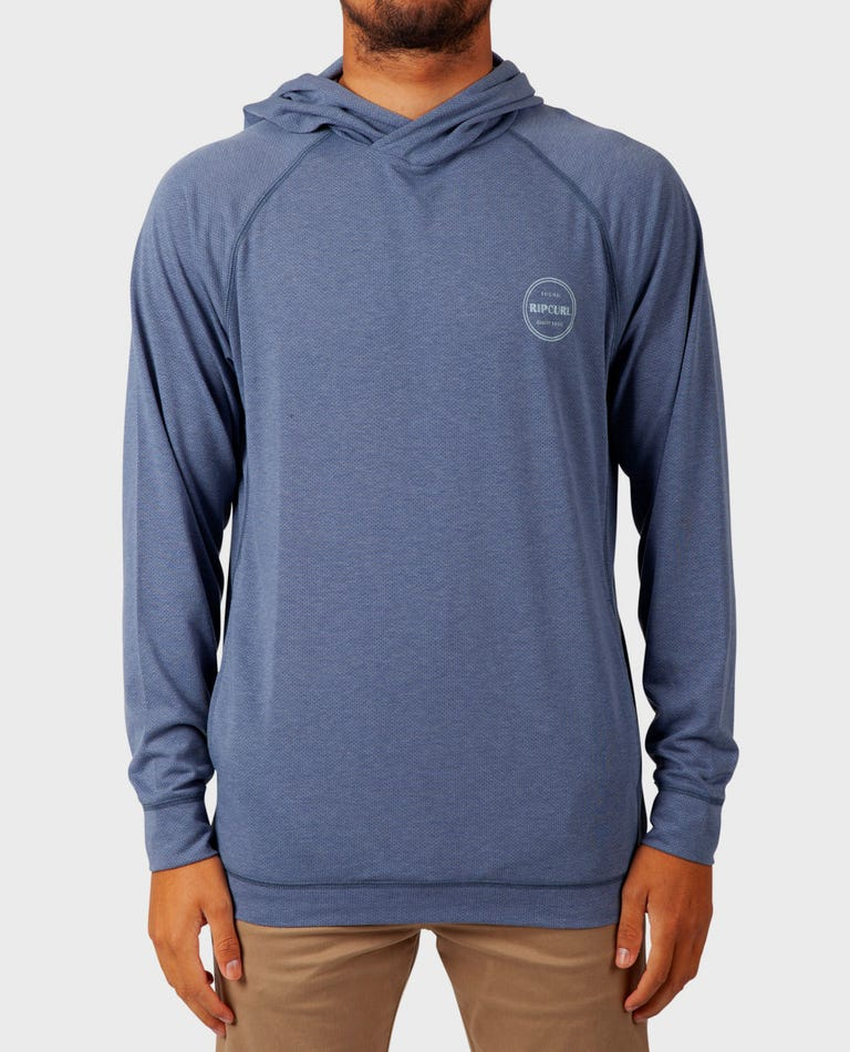 Fused Vapor Cool Long Sleeve Pull Over in Blue Grey