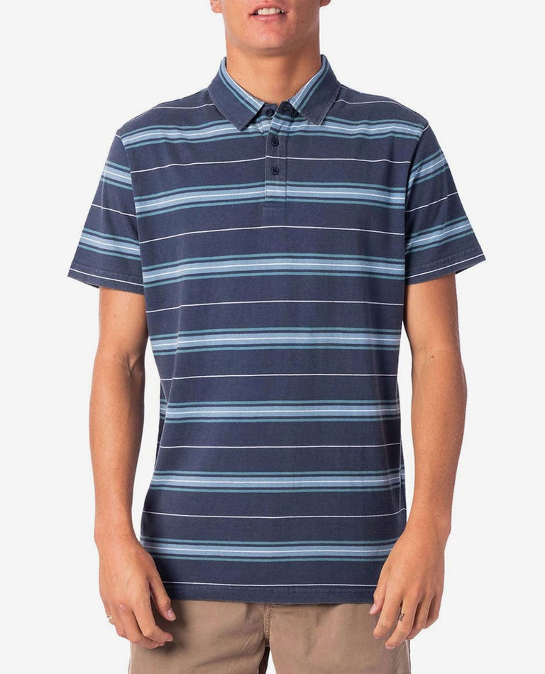 Pacific Stripe Polo in Navy