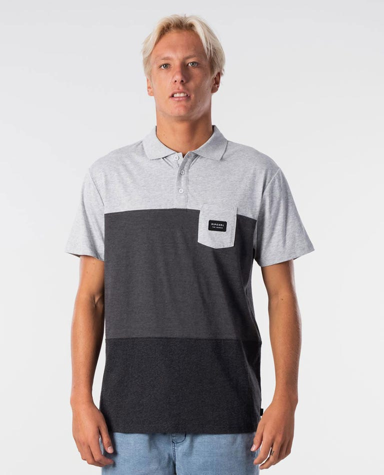 Duality Short Sleeve Polo in Black