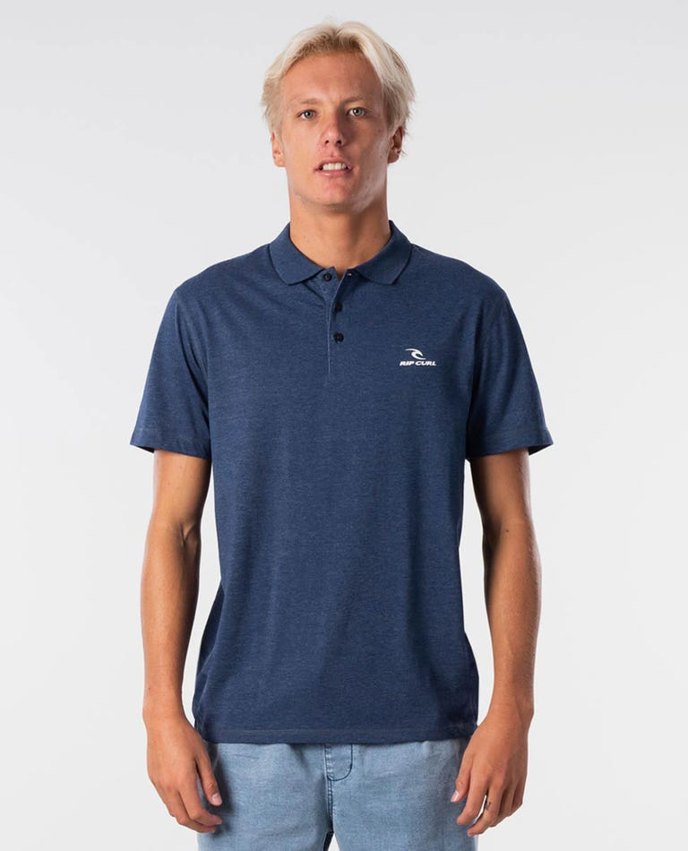 Pivot Short Sleeve Polo in Navy Marle