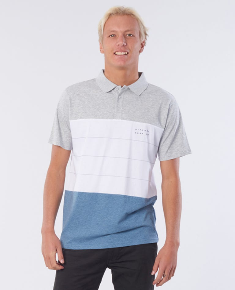 Trilogy Cotton Polo in Blue Marle