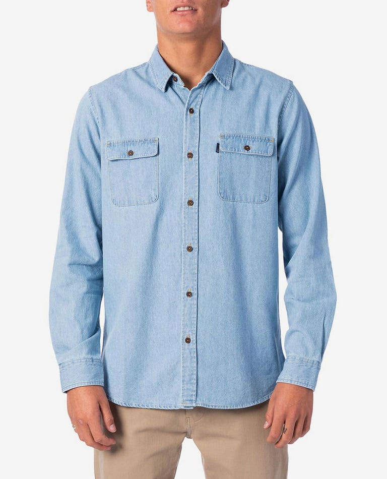 Searches Denim Long Sleeve Shirt in Light Blue