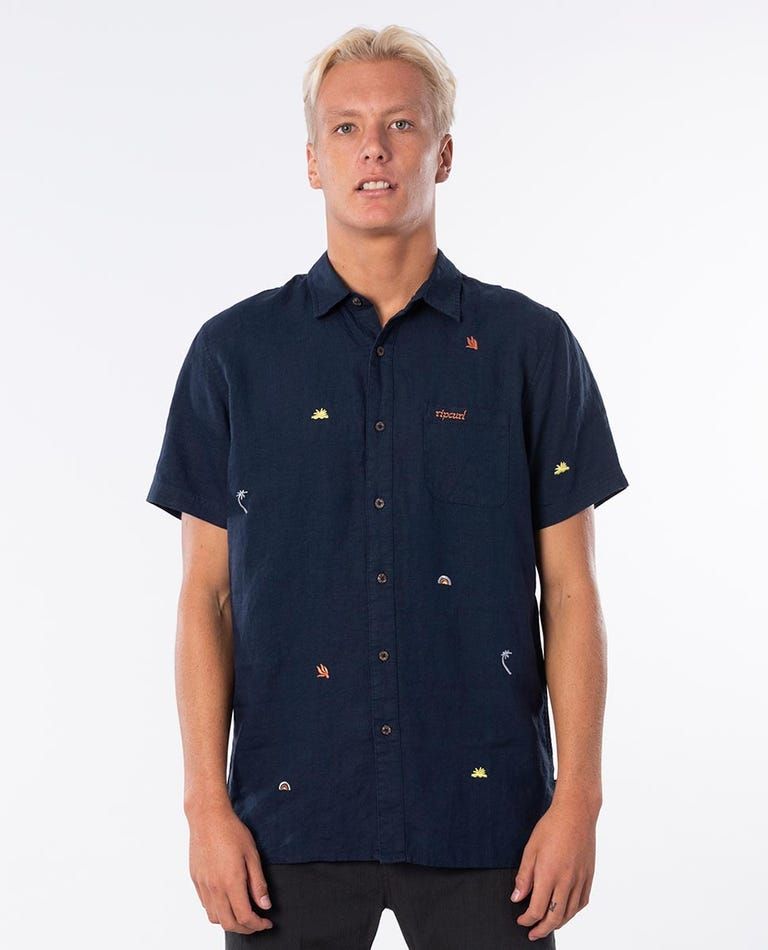 Motif Linen Short Sleeve Shirt in Navy