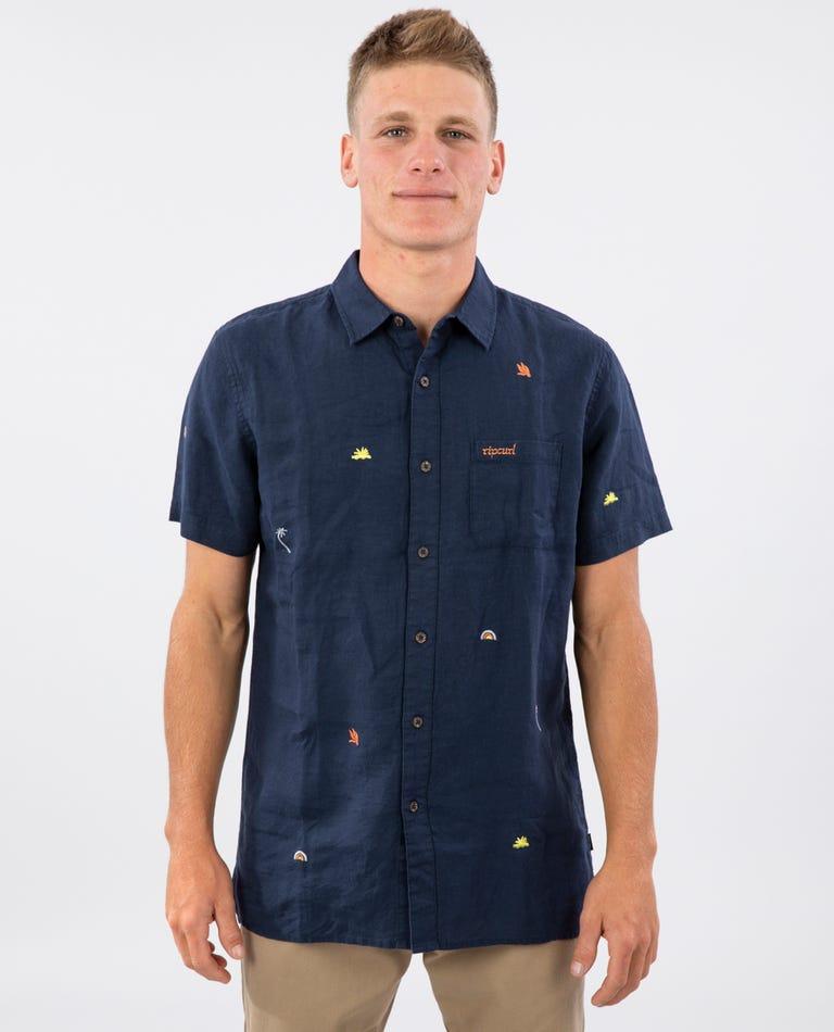 Motif Linen Short Sleeve Shirt in Navy
