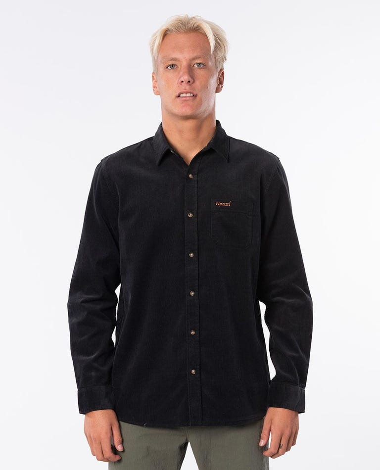 Fine Wale Long Sleeve Shirt in Washed Black