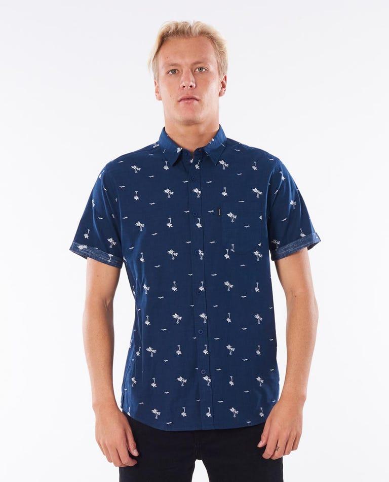 Summer Palm Short Sleeve Shirt in Navy
