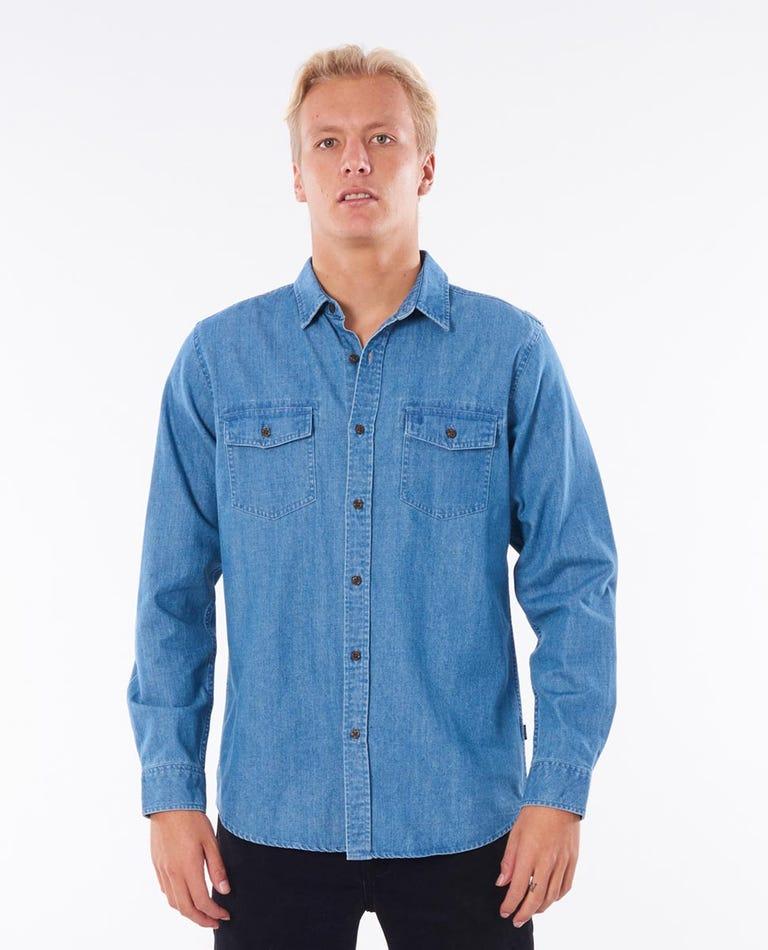 Searchers Denim Long Sleeve Shirt in Dusty Blue
