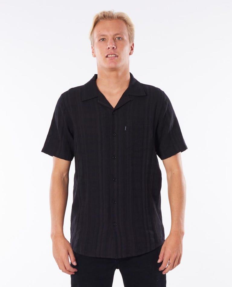 Broken Stripe Short Sleeve Shirt in Black