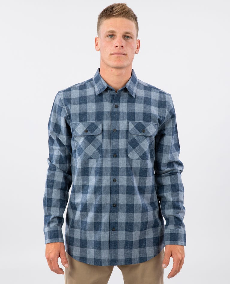 Checked Out Long Sleeve Flannel in Navy