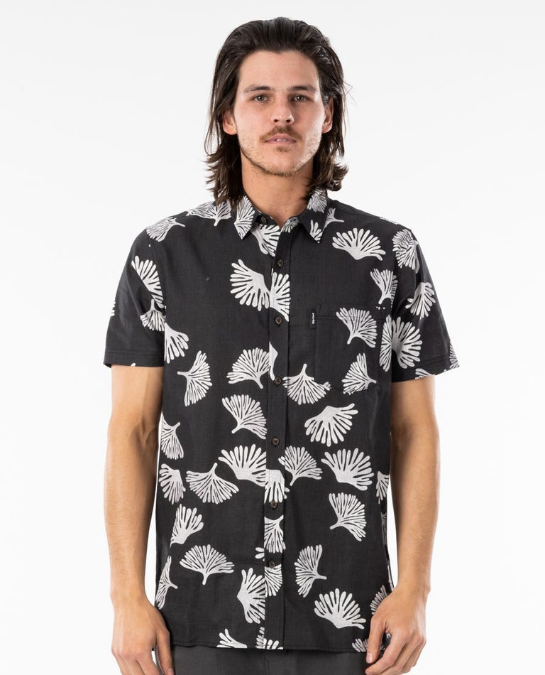 Saltwater Culture Short Sleeve Shirt in Washed Black