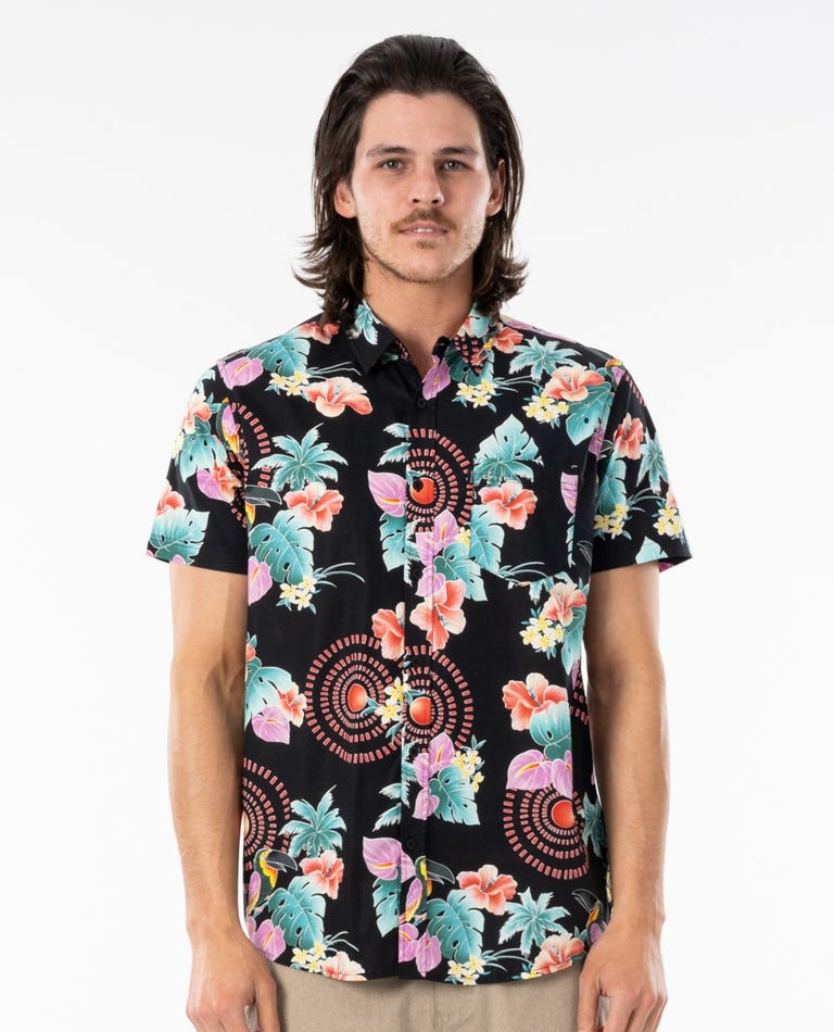Beach Party Short Sleeve Shirt in Black