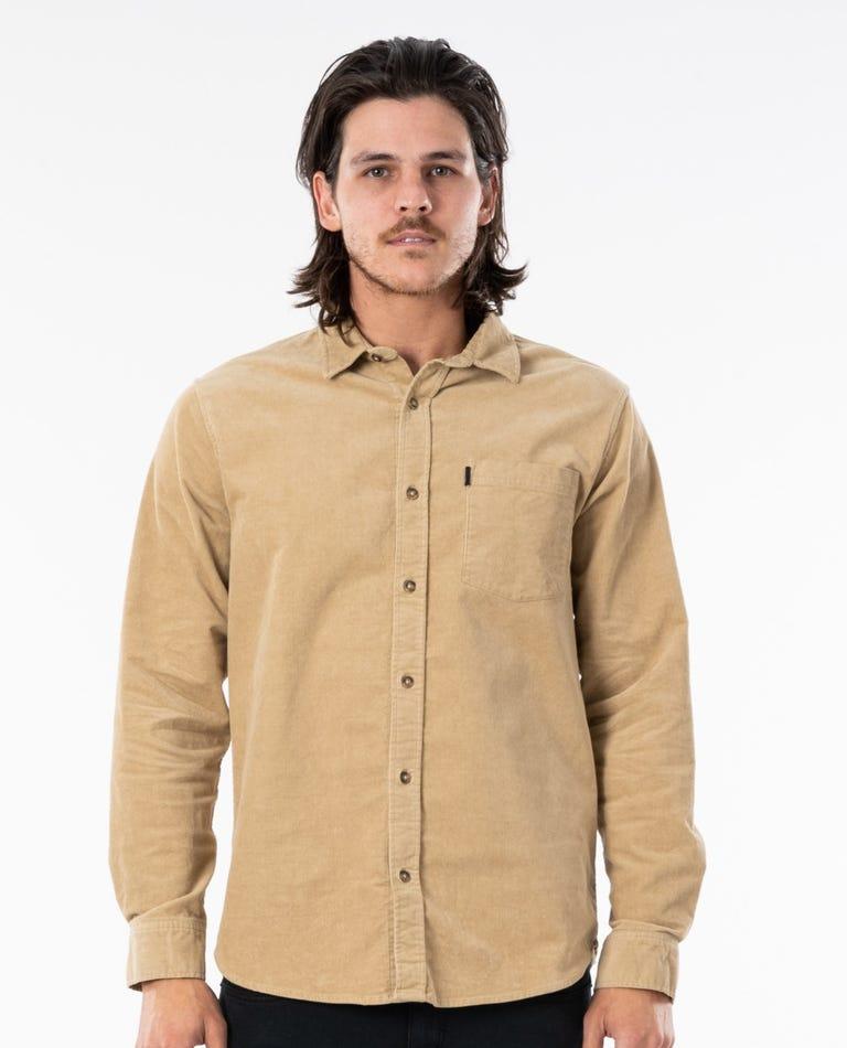 Batemans Long Sleeve Cord Shirt in Khaki