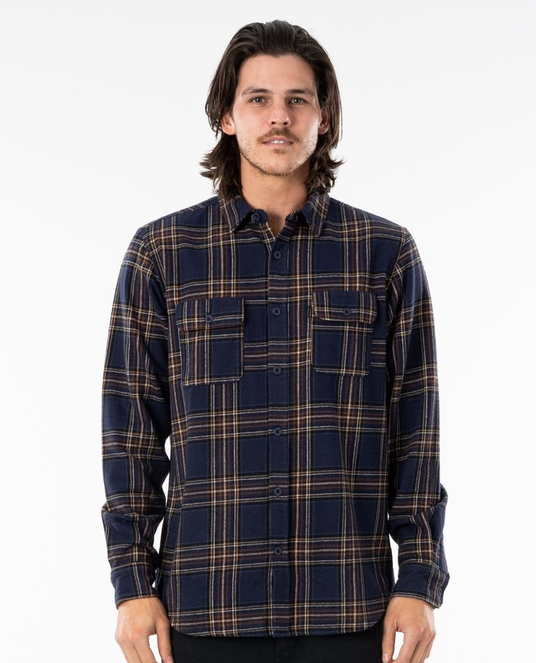 Griffin Long Sleeve Flannel Shirt in Navy