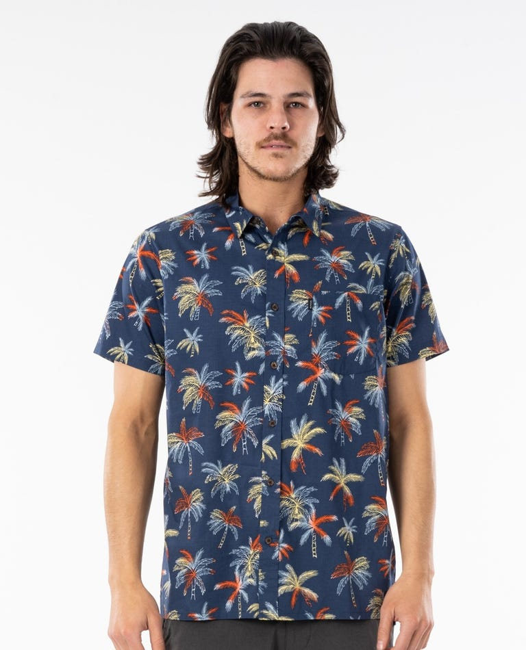 Party Palm Short Sleeve Shirt in Navy