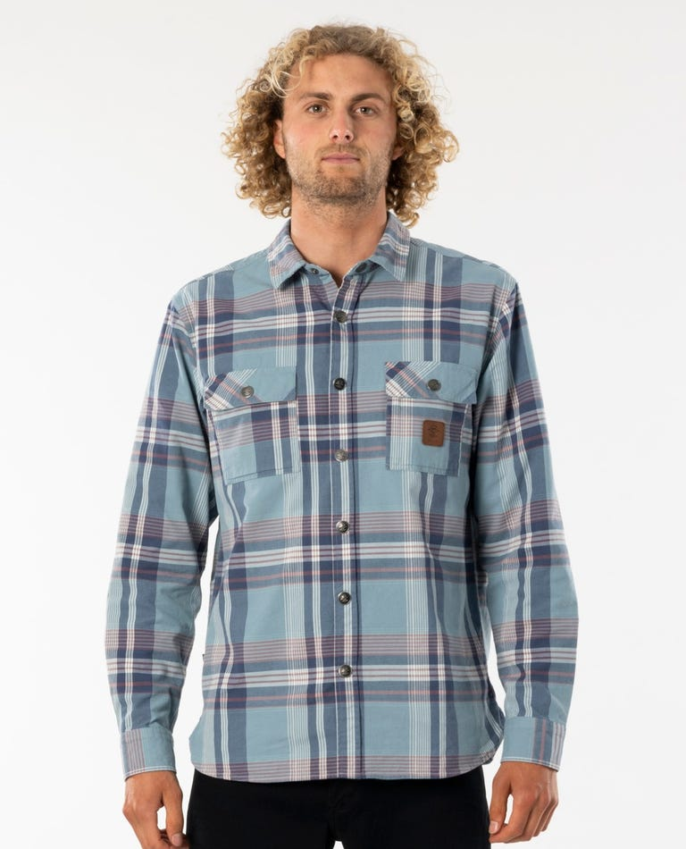 Searchers Long Sleeve Flannel Shirt in Blue