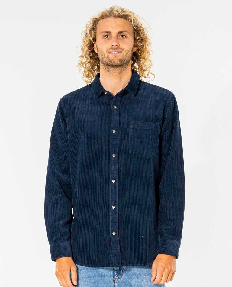 State Cord Long Sleeve Shirt in Navy