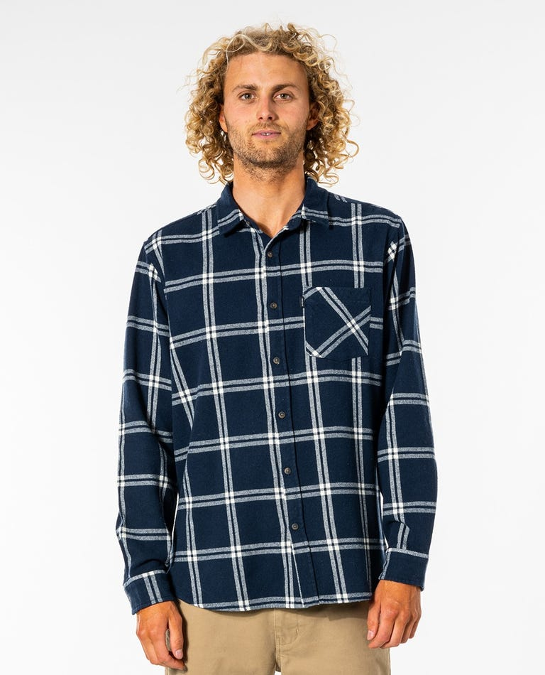 Checked Out Long Sleeve Flannel Shirt in Navy