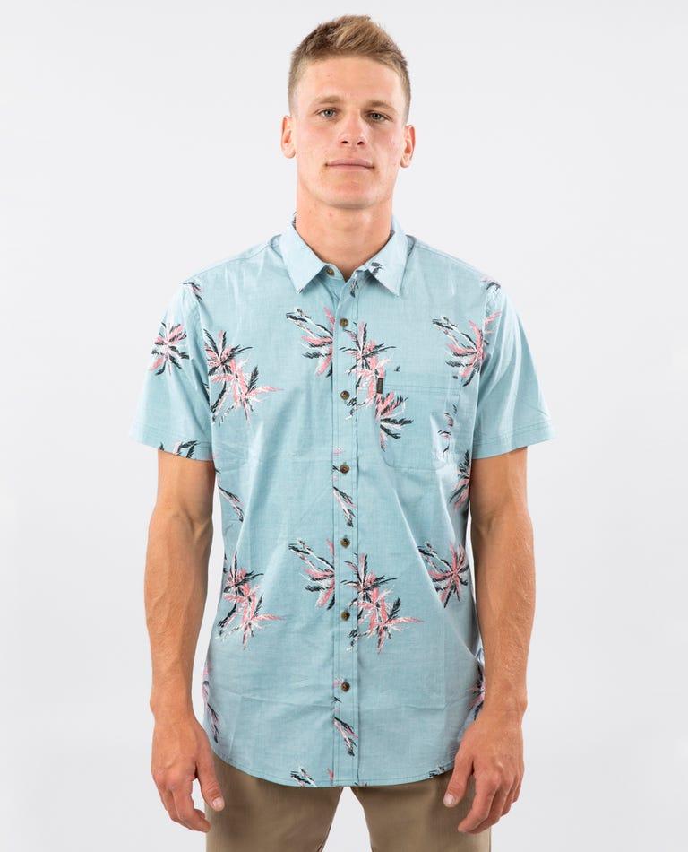 Party Palm Short Sleeve Shirt in Aqua