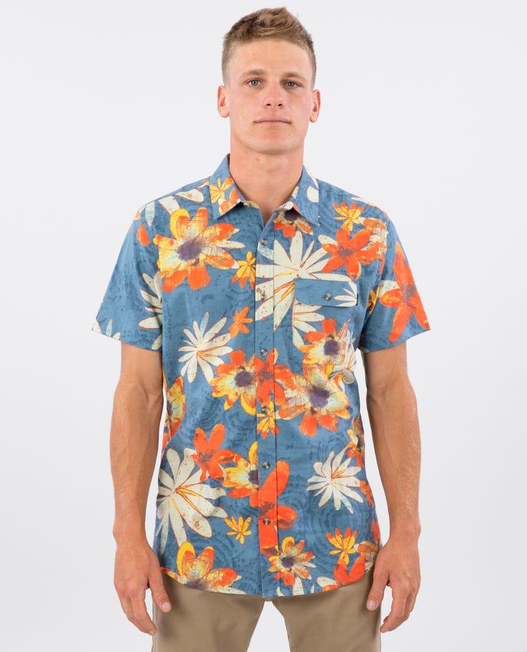 Happy Fields Short Sleeve Shirt in Blue