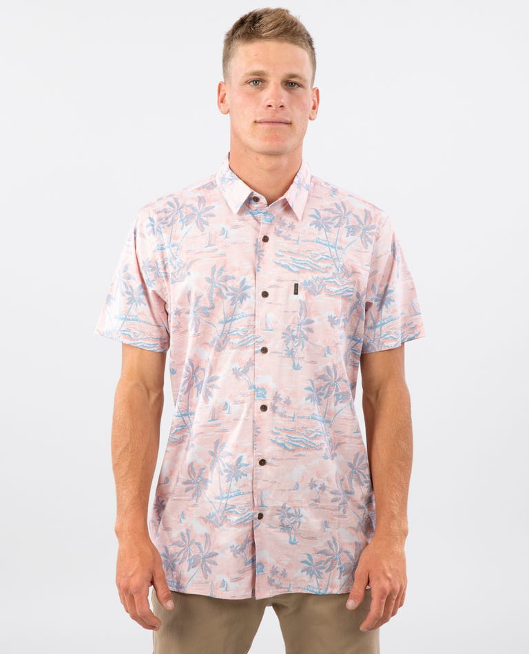 Island Fever Short Sleeve Shirt in Salmon