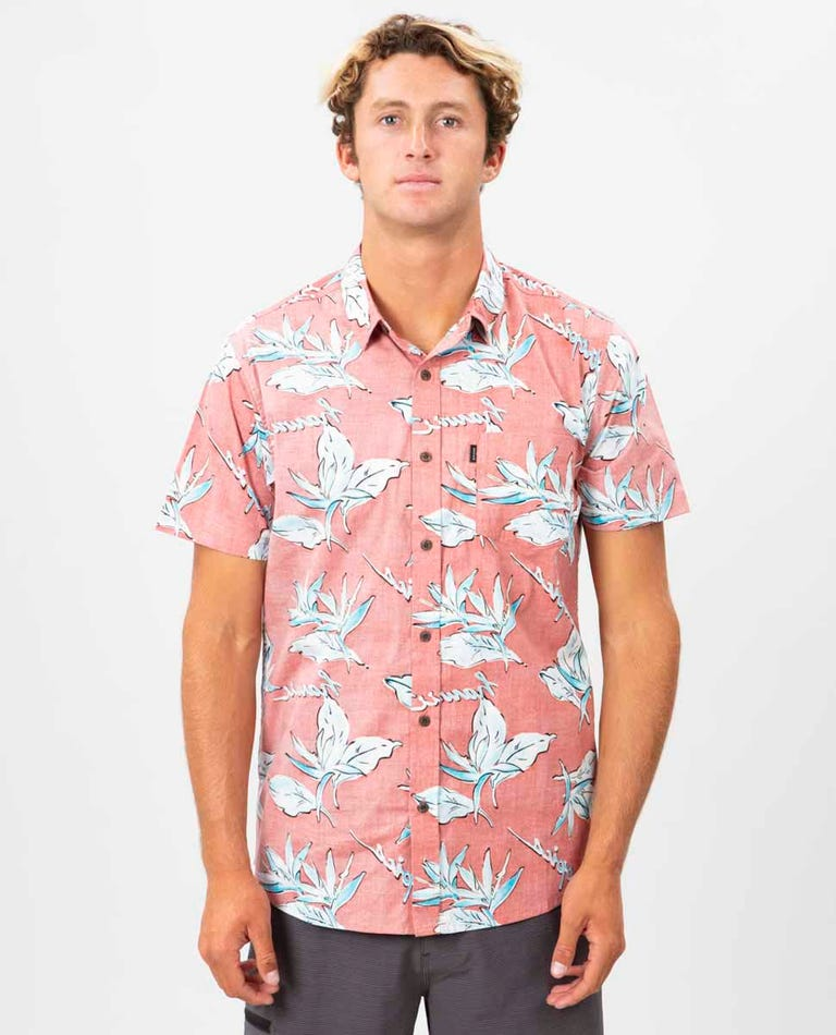 Hawaii Floral Short Sleeve Shirt in Red