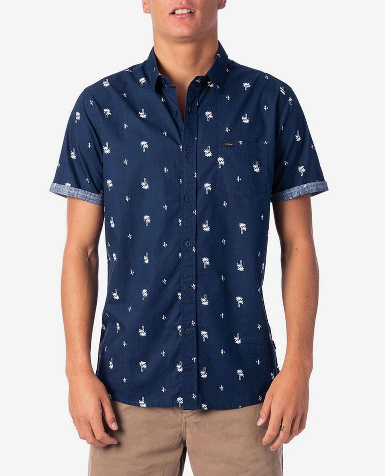 Palm Days Short Sleeve Shirt in Navy