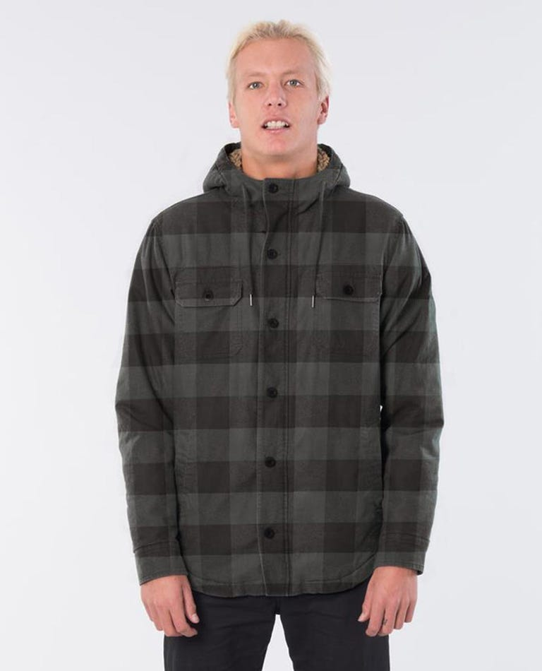 Sounds Hooded Long Sleeve Shirt in Washed Black