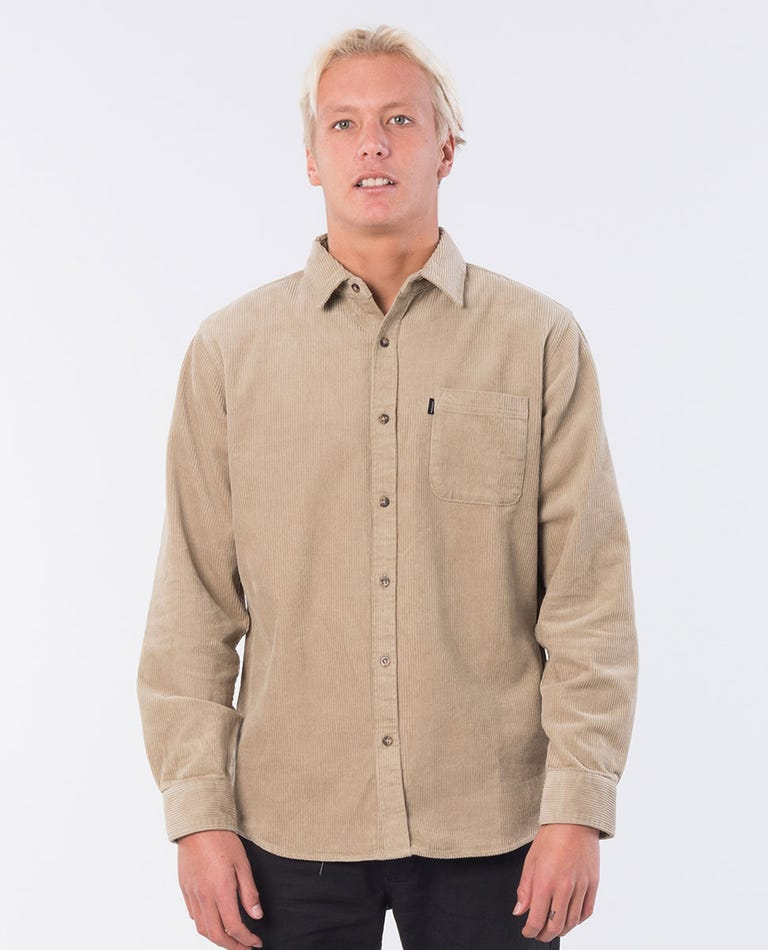 Cord Latch Long Sleeve Shirt in Khaki