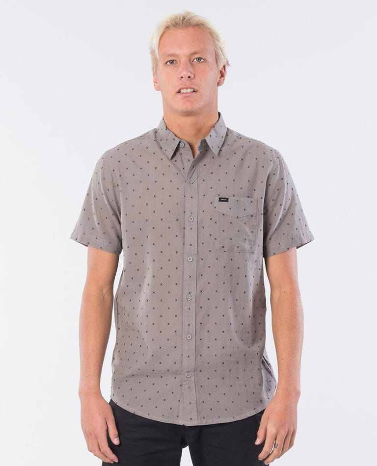 Cross Lines Short Sleeve Shirt in Charcoal Grey