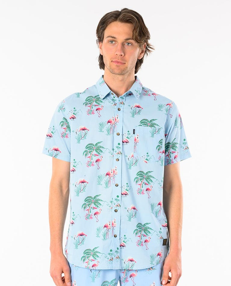Flamin-Goes Short Sleeve Shirt in Light Green