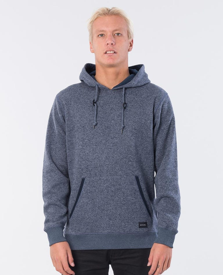 Crescent Hooded Jumper in Navy Marle