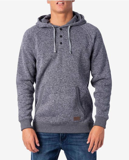 Crescent Button Hooded Jumper in Charcoal Marle