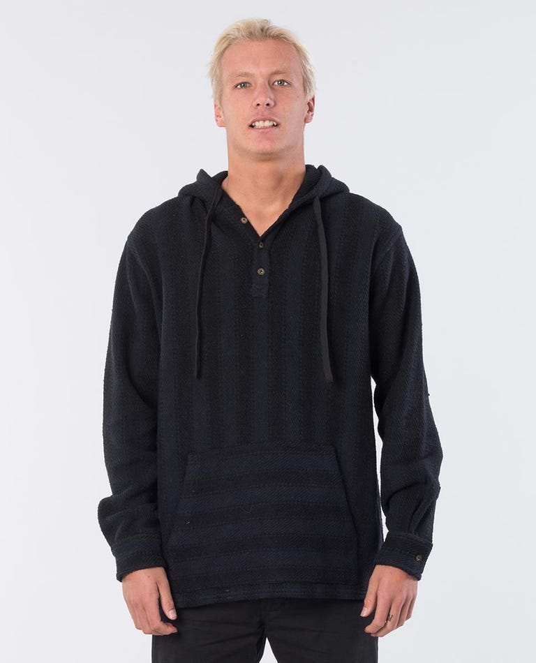 Repost Vertical Cotton Hooded Jumper in Washed Black