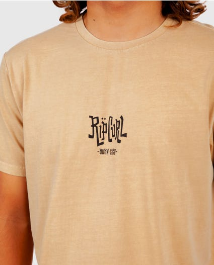Scorched Logo Tee in Mustard