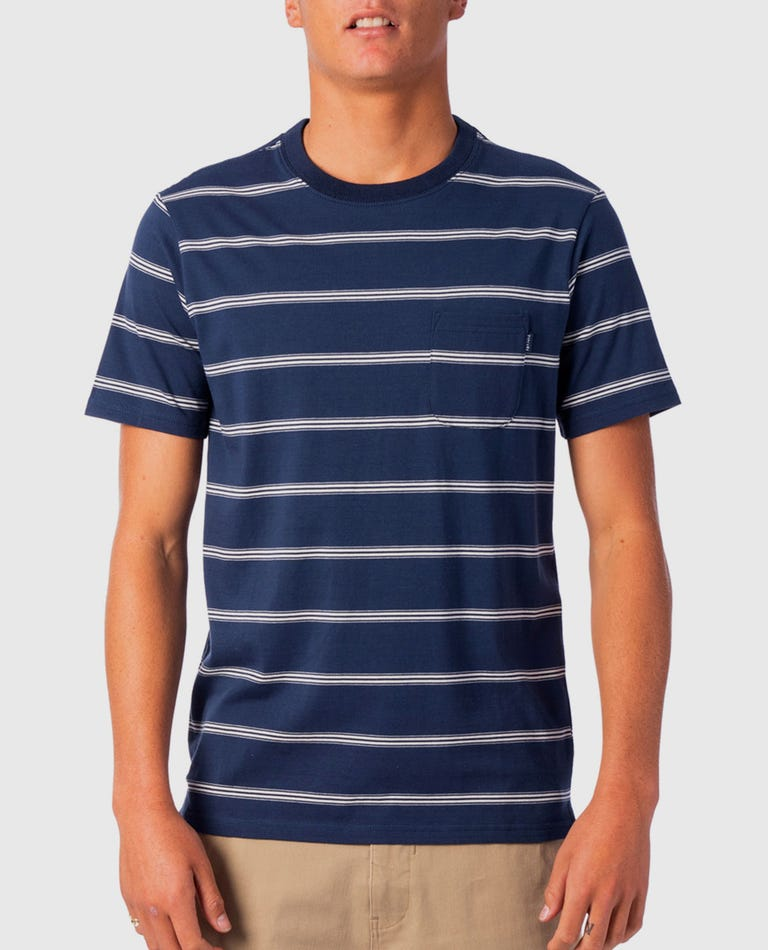 Highway Stripe Tee in Indigo