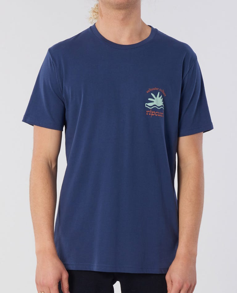 Wilder Cotton Tee in Washed Navy
