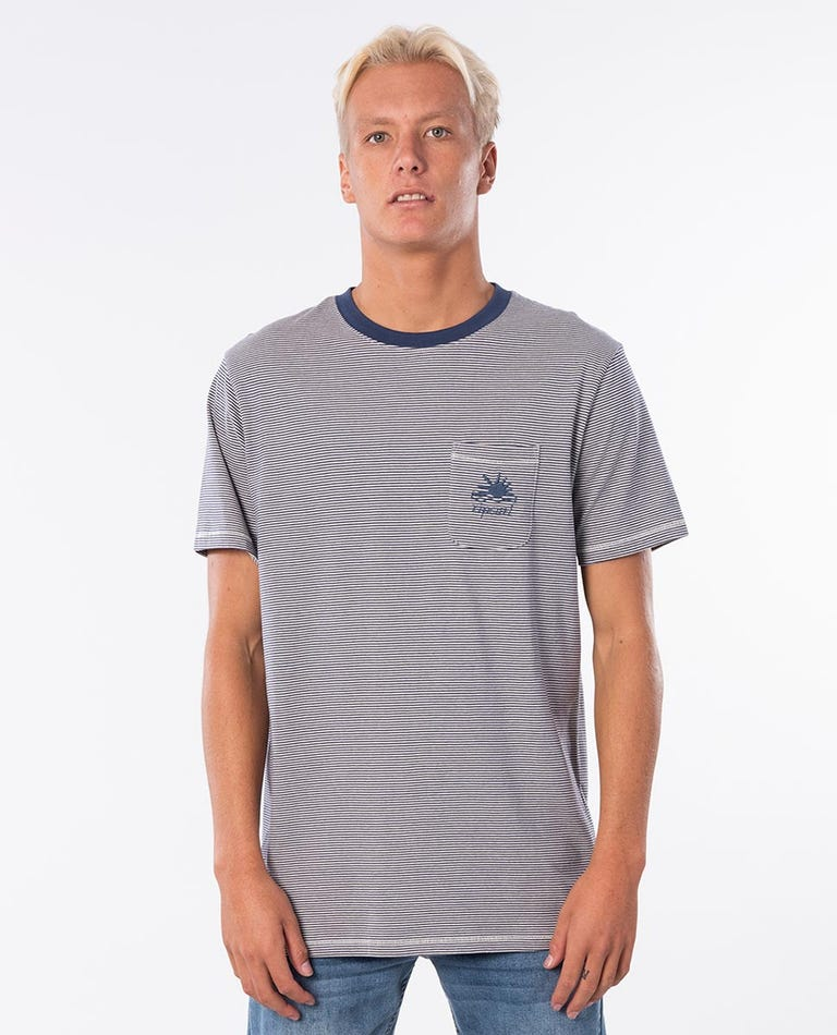 Channel Stripe Cotton Tee in Stone